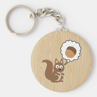 Squirrel Thinking About Nut Basic Round Button Keychain