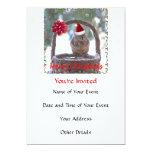 "Squirrel Wearing Santa Hat 5"" X 7"" Invitation Card"