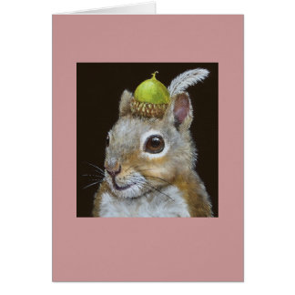squirrel with acorn and feather hat on card
