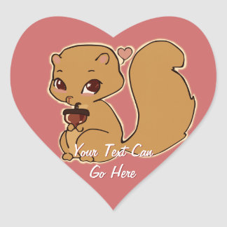 Squirrel with Acorn Heart Stickers