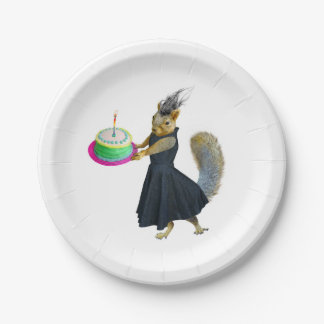 Squirrel with Cake Paper Plates