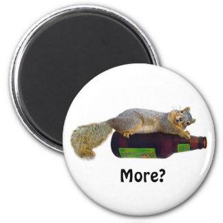 Squirrel with Empty Beer Bottle 2 Inch Round Magnet