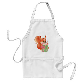 squirrel with gift standard apron