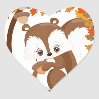 Squirrel  with nuts WOODLAND CRITTERS- wreath Heart Sticker