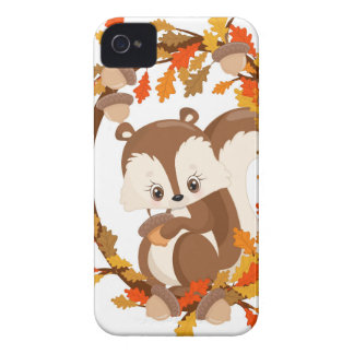Squirrel  with nuts WOODLAND CRITTERS- wreath iPhone 4 Case-Mate Case