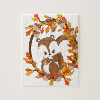 Squirrel  with nuts WOODLAND CRITTERS- wreath Jigsaw Puzzle