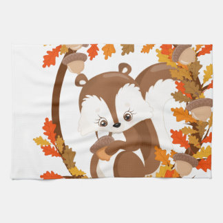 Squirrel  with nuts WOODLAND CRITTERS- wreath Kitchen Towel