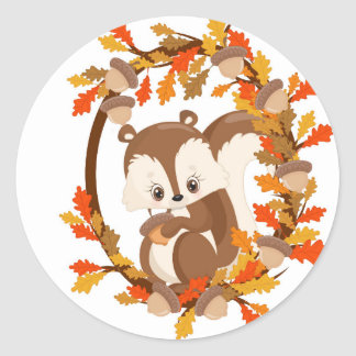 Squirrel  with nuts WOODLAND CRITTERS- wreath Round Sticker