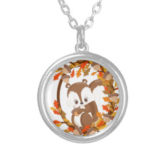 Squirrel  with nuts WOODLAND CRITTERS- wreath Silver Plated Necklace