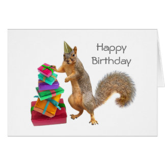 Squirrel with Pile of Presents Birthday Card