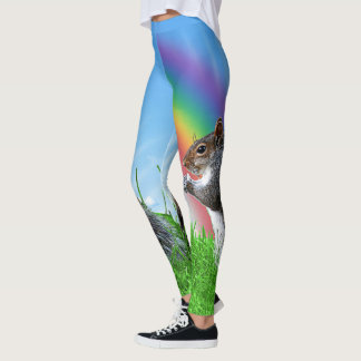 Squirrel With Rainbow Leggings