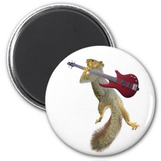 Squirrel with Red Guitar 2 Inch Round Magnet