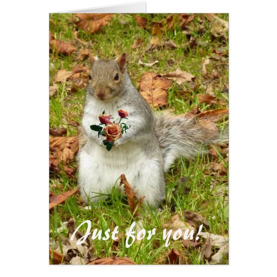 Squirrel with roses card