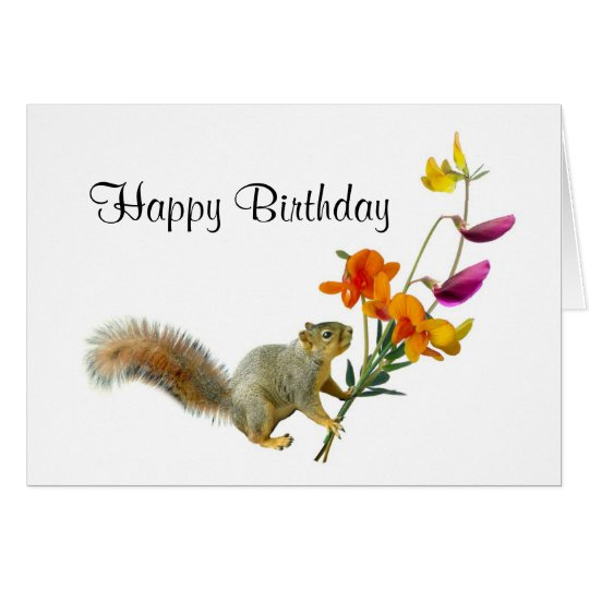 Squirrel with Wildflowers Birthday Card
