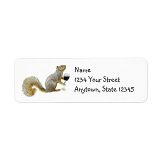 Squirrel with Wine Address Labels