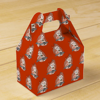 Squirrel's Holiday Pattern on Red Favour Box Party Favor Box
