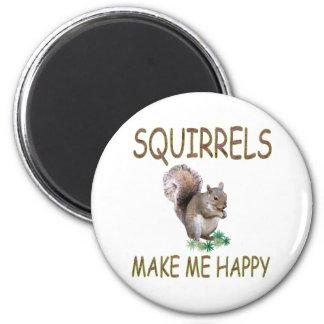 Squirrels Make Me Happy 2 Inch Round Magnet