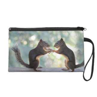 Squirrels Sharing a Peanut Photo Wristlet