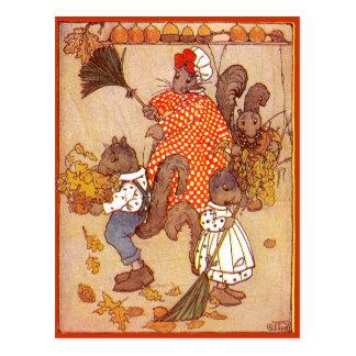 Squirrels Sweep Oak Leaves Postcard