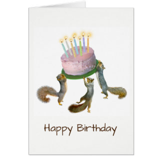 Squirrels with Cake Birthday Card