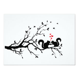 Squrrels with red hearts on tree branch card