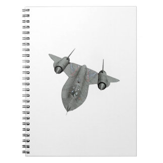 SR71 Blackbird Black and White Illustration Spiral Notebook