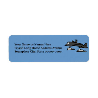 SR71 Blackbird Recon Plane Flying In Clouds Return Address Label