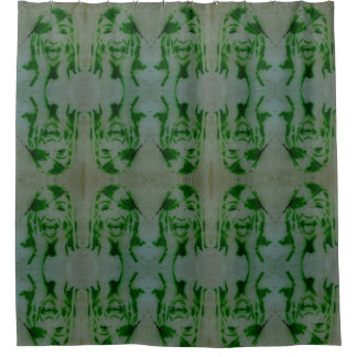 Sreaming girl shower curtain.