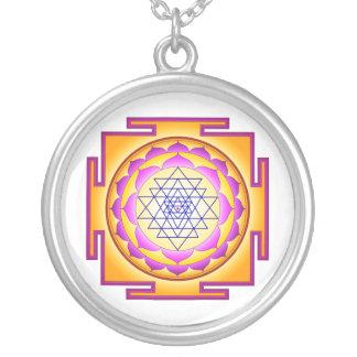 Sri Chakra Goddess Shri Lalitha Tripura Sundari Silver Plated Necklace