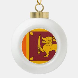 Sri Lanka Flag Ceramic Ball Christmas Ornament