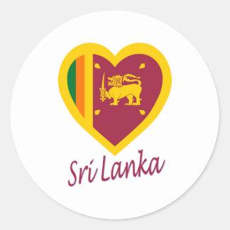 Sri Lanka Flag Heart Classic Round Sticker