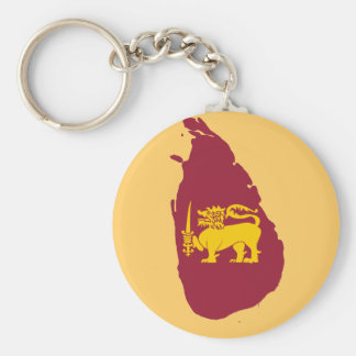 Sri Lanka flag map Basic Round Button Keychain