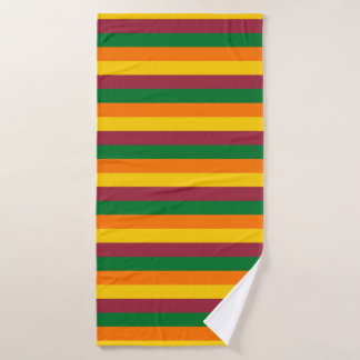 Sri Lanka flag stripes lines colors pattern Bath Towel