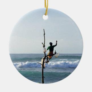 Sri Lanka stick fishermen fishing Marissa Bay Ceramic Ornament