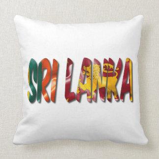 Sri Lanka Word With Flag Texture Throw Pillow
