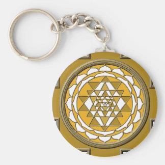 Sri Yantra Bronze Basic Round Button Keychain