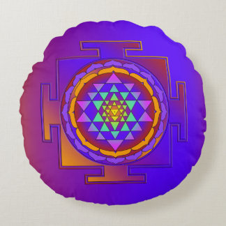 SRI YANTRA full colored + your ideas Round Pillow