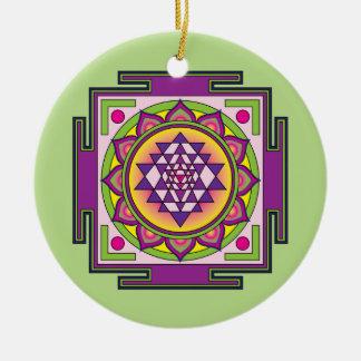 Sri Yantra Mandala Ceramic Ornament