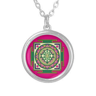 Sri Yantra Mandala Silver Plated Necklace
