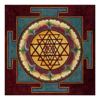 Sri Yantra water color Poster