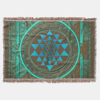 Sri Yantra Water Glow - Throw Blanket