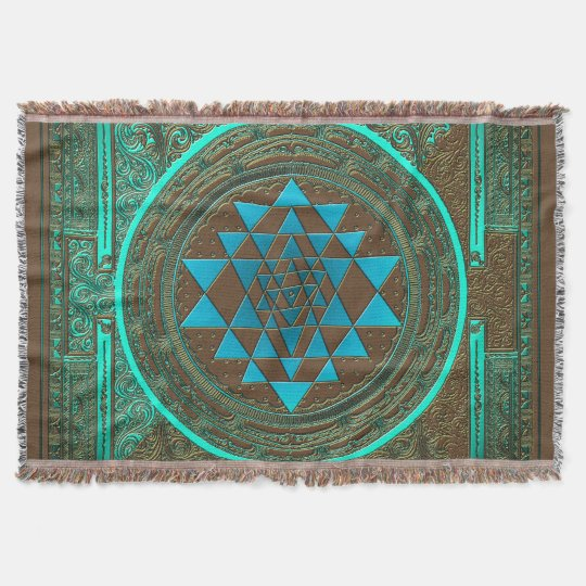 Sri Yantra Water Glow - Throw Blanket