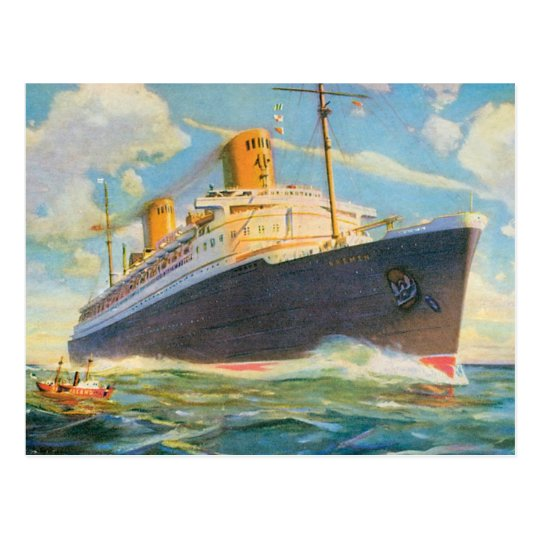 SS Bremen at Sea Postcard