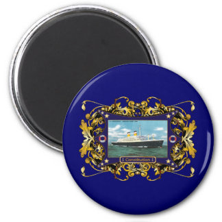 SS Constitution Vintage Ocean Liner 2 Inch Round Magnet