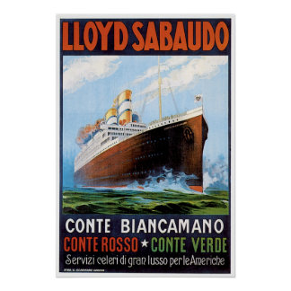 SS Conte Biancamano - Vintage Ship Advertisement Poster