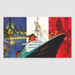 ss France with Eiffel Tower and Statue of Liberty Rectangle Stickers