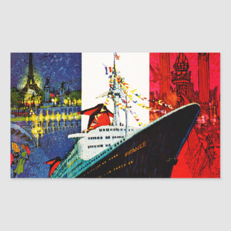 ss France with Eiffel Tower and Statue of Liberty Sticker