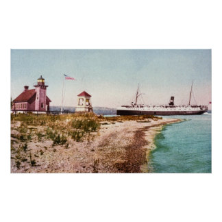 SS Manitou at Harbor Point, Michigan Poster