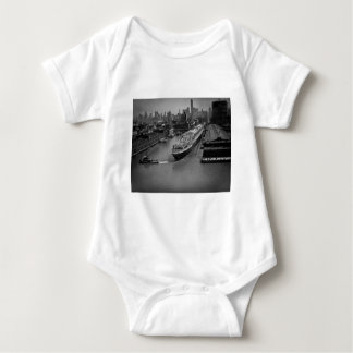 SS United States at Pier in New York City Baby Bodysuit