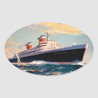 ss United States at Sea Oval Sticker